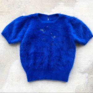 Vintage Style Blue Angora Sweater Top Short Sleeve